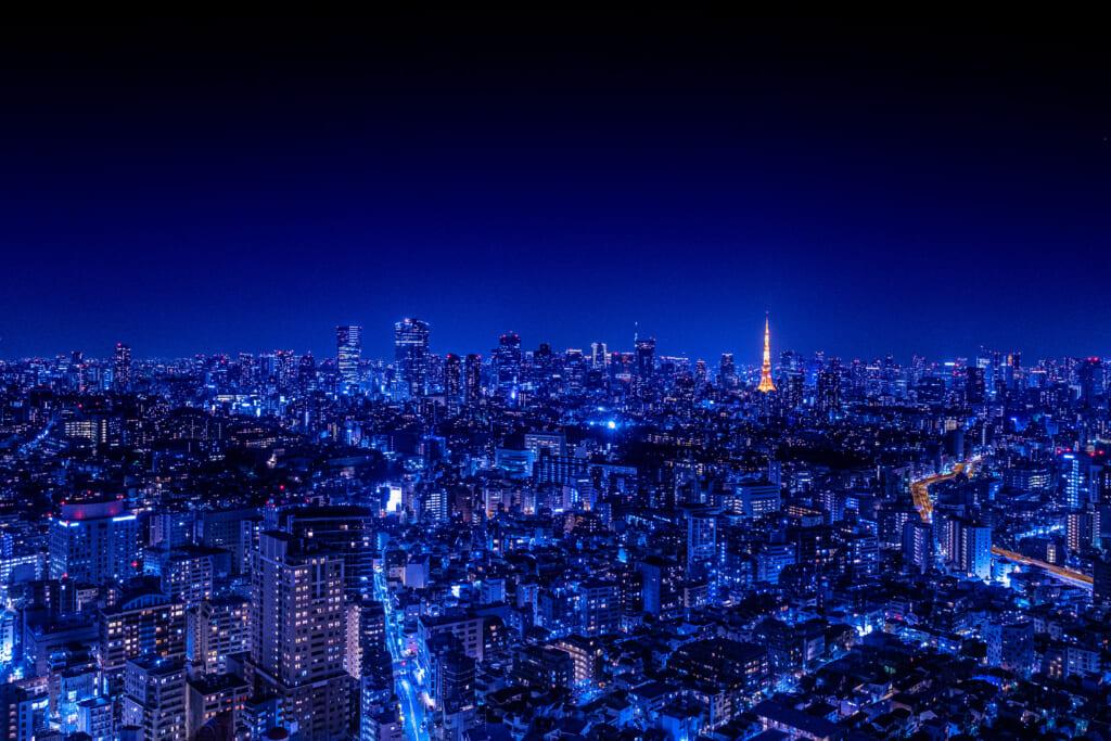 東京の夜の夜景。東京タワーが美しく浮かび上がる。